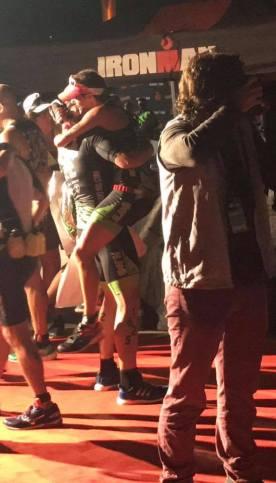 MK finish line hug